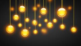 La lampadina luminosa sferica 3D rende l'illustrazione immagine stock