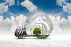La lampadina nel concetto dell'energia alternativa - rappresentazione 3d Immagini Stock