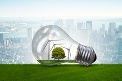 La lampadina nel concetto dell'energia alternativa - rappresentazione 3d Fotografia Stock