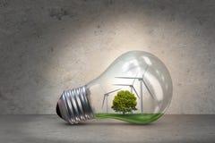 La lampadina nel concetto dell'energia alternativa - rappresentazione 3d Fotografia Stock Libera da Diritti