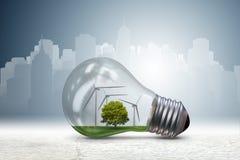 La lampadina nel concetto dell'energia alternativa - rappresentazione 3d Immagine Stock