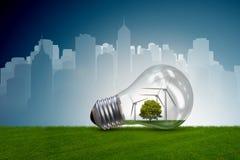 La lampadina nel concetto dell'energia alternativa - rappresentazione 3d Fotografie Stock