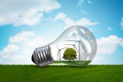 La lampadina nel concetto dell'energia alternativa - rappresentazione 3d Fotografie Stock Libere da Diritti