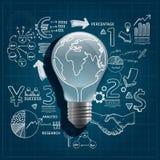 La lampadina scarabocchia disegno a tratteggio Fotografia Stock Libera da Diritti