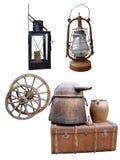 La lampe d'icône la lampe les articles de roue une raboteuse des choses antiques d'un coffre est isolée Image libre de droits