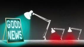 La lampe illumine le tableau noir Image libre de droits