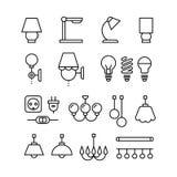 La lampe, les ampoules, le lustre et les dispositifs électriques amincissent la ligne icônes de vecteur réglées illustration stock