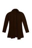 La lana di Brown tricotta il cardigan, isolato su fondo bianco Fotografia Stock Libera da Diritti
