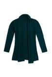 La lana di Teal tricotta il cardigan, isolato su fondo bianco Fotografia Stock