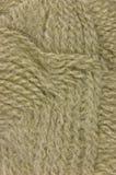 La lana fine beige filetta il primo piano di macro del clew di struttura Fotografie Stock