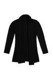 La lana nera tricotta il cardigan, isolato su fondo bianco Fotografie Stock