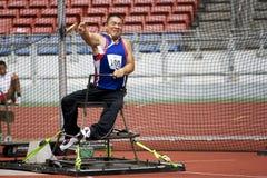 La lancée de disque des hommes pour les personnes handicapées Photos stock