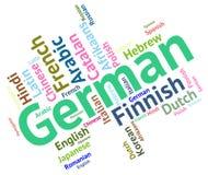 La langue allemande montre la communication et les mots de l'Allemagne Photos stock