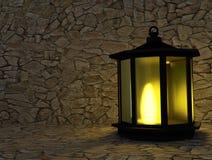La lanterna con luce nell'oscurità in 3D rende l'immagine Fotografia Stock Libera da Diritti