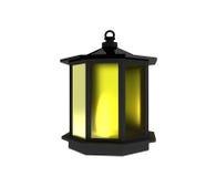 La lanterna nera con luce su bianco isolato in 3D rende l'immagine Fotografie Stock Libere da Diritti