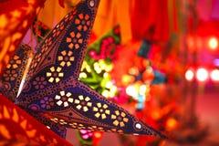 La lanterne colorée de forme d'étoile Photos libres de droits