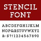La lastra Serif Alphabet Vector Font dello stampino illustrazione di stock