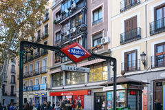 La Latina metro station signage in Madrid Stock Photo