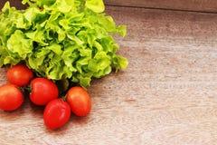 La lattuga, i pomodori ed i peperoni sono disposti insieme in una ciotola sulla a Fotografia Stock Libera da Diritti