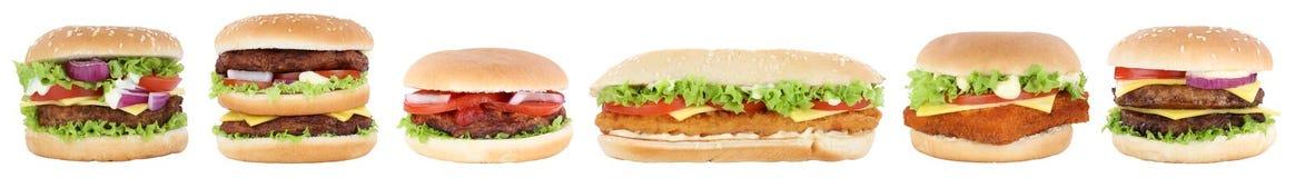 La lattuga rassodata dei pomodori dell'hamburger del cheeseburger della raccolta dell'hamburger è Immagine Stock Libera da Diritti