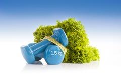 La lattuga verde un le paia di vinile blu ha ricoperto le teste di legno Immagini Stock Libere da Diritti