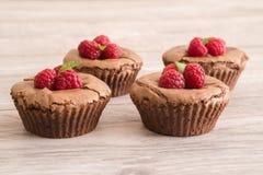 La lava deliziosa del cioccolato agglutina con i lamponi e la menta freschi immagine stock