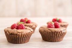 La lava deliziosa del cioccolato agglutina con i lamponi e la menta freschi fotografia stock