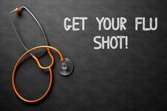 La lavagna con ottiene il vostro concetto dell'iniezione antinfluenzale illustrazione 3D Fotografia Stock