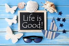 La lavagna con vita marittima di citazione e della decorazione è buona Fotografia Stock Libera da Diritti