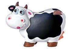 La lavagna Copyspace del porcellino salvadanaio della mucca ha isolato Fotografie Stock Libere da Diritti