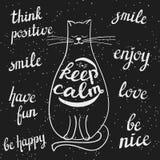 La lavagna ha disegnato il gatto ed i messaggi positivi Immagine Stock