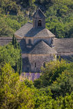 La lavanda coloca con el monasterio de Senanque en Provence, Gordes, Francia Imagenes de archivo