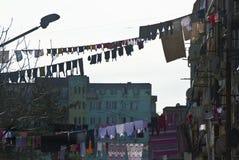 La lavanderia appende davanti alle finestre della facciata in sedere Immagini Stock Libere da Diritti