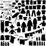 La lavanderia obietta le siluette in bianco e nero Fotografie Stock Libere da Diritti