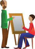 La leçon de dessin, le professeur et étudiant illustration de vecteur