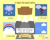 La leçon et la tâche pour des enfants au sujet de l'arche et de l'arc-en-ciel Le ministère des enfants s École du dimanche illustration stock