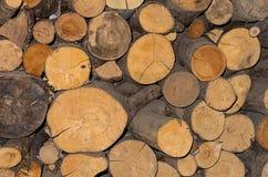 La leña de madera del fondo dobló textura del pino con el billete del primer de las grietas Imagen de archivo