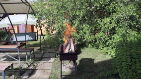 La leña está quemando en el grill-1 almacen de video