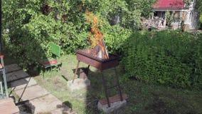 La leña está quemando en el grill-2 almacen de video