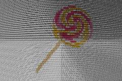 La lecca-lecca è presentata sotto forma di codice binario Fotografia Stock Libera da Diritti