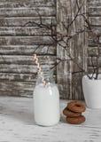 La leche en una botella de cristal y el chocolate adietan las galletas en la tabla de madera ligera rústica Fotografía de archivo