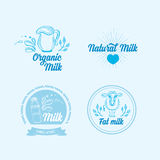 La leche natural con salpica, diseño de los iconos Producto sano Imágenes de archivo libres de regalías