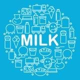 La leche y los productos lácteos están situados dentro de un círculo en un fondo azul Iconos de la lechería en el estilo de la lí stock de ilustración