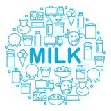 La leche y los productos lácteos están situados dentro de un círculo en un fondo blanco Iconos de la lechería en el estilo de la  ilustración del vector