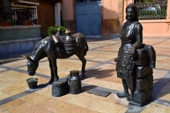 La Lechera Sculpture in Trascorrales Square in Oviedo, Spain Royalty Free Stock Photo