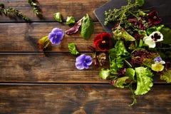 La lechuga fresca de los ingredientes del saland florece espinaca fotografía de archivo libre de regalías