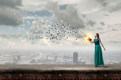 La lecture développe l'imagination Photographie stock libre de droits