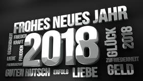 La lengua alemana por el Año Nuevo 2018 3d rinde ilustración del vector