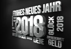 La lengua alemana por el Año Nuevo 2018 3d rinde Fotografía de archivo