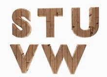 La lengua inglesa S T U V W de las letras de madera del alfabeto en 3D rinde imagen Fotografía de archivo